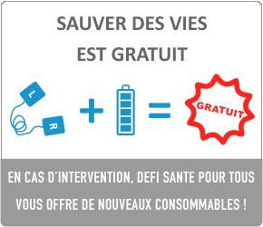 Sauver des vies est gratuit ! Kit de remplacement offert l'utilisation de votre défibrillateur