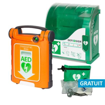 Pack économique défibrillateur Cardiac Science Powerheart G5 automatique et coffret mural Aivia 100