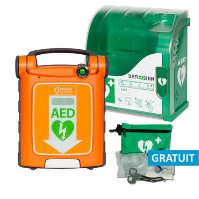 Pack économique défibrillateur Cardiac Science Powerheart G5 semi-automatique et coffret mural Aivia 100