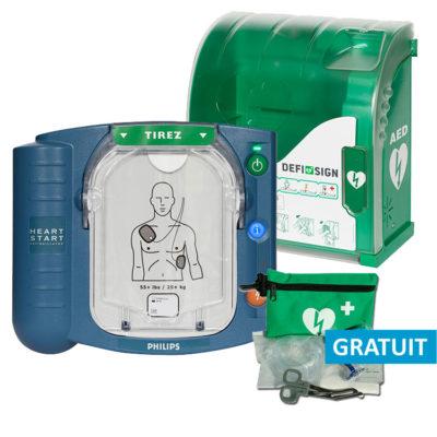 Pack économique défibrillateur Philips HS1 et coffret mural Aivia 100